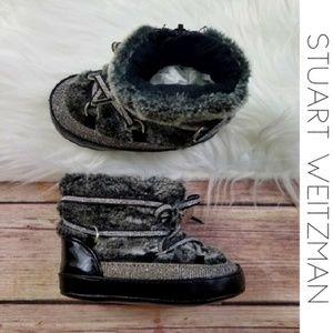 STUART WEITZMAN Fur Baby Metallic Snowboot 4 NWT
